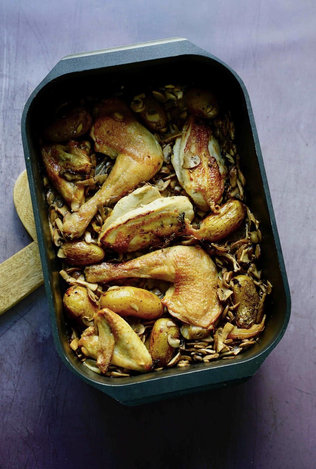 poulet au four, champignons , cuisine française , recette rapide , cuisine facile