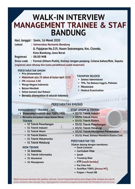 Rekrutmen Pegawai Staff dan MT Lion Air Group Tingkat D3 S1 Besar Besaran Bulan Maret 2020