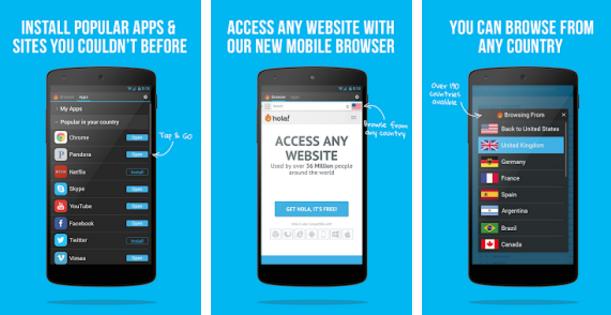 تحميل برنامج هولا للاندرويد Hola Free VPN Proxy for android