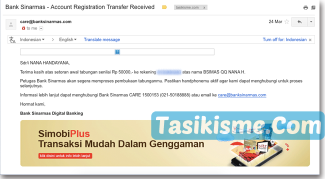 konfirmasi transfer virtual akun bank sinarmas
