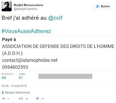 Madjid Messaoudene annonce sur Twitter son adhésion au CCIF