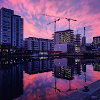Images of Dublin: Pink sunrise over Grand Canal Dock