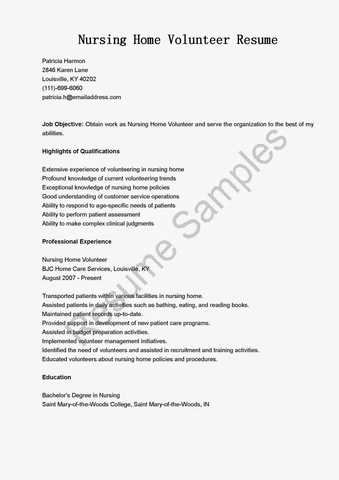 Resume Samples Nursing Home Volunteer Resume Sample