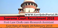 Supreme Court of India Recruitment 2018 – Law Clerk-cum-Research Assistant