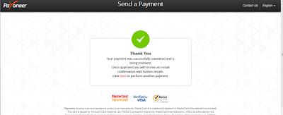 berhasil mengisi balance Payoneer menggunakan kartu kredit