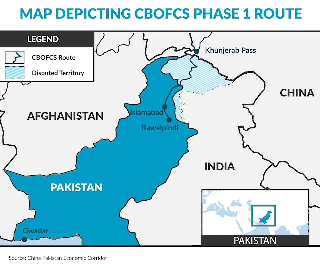 Map Depicting CBOFCS Phase 1 Route / CPEC / GRID91