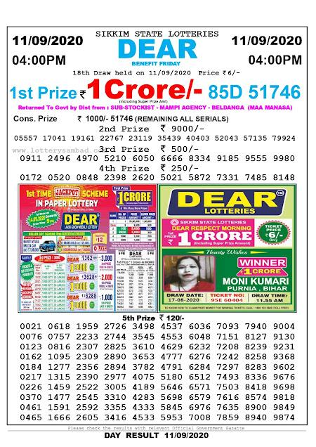 Lottery Sambad Today 11.09.2020 Dear Benefit Friday 4:00 pm