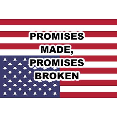 MEME - Promises Made, Promises Broken - on an Upside Down American Flag - gvan42 Gregory Vanderlaan