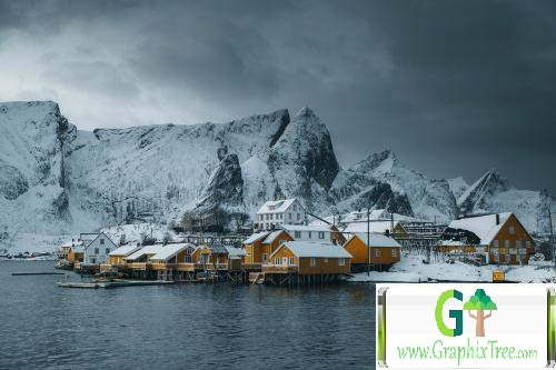 Snowy village on Sakrisøy island, Norway
