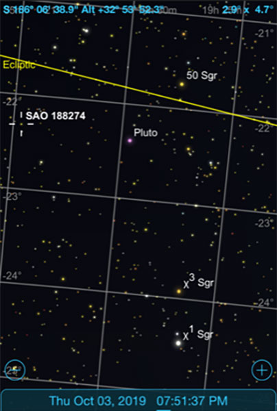 Sky Safari Pro app screenshot shows location of Pluto (Source: Palmia Observatory)