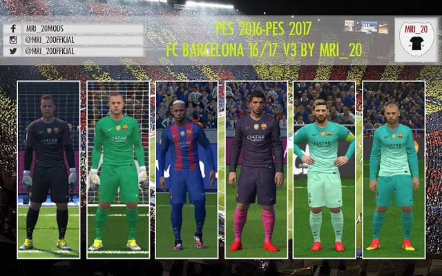PES 2016   PES 2017 FC Barcelona 2016 17 Kits-Pack V3 e6e0c50d0