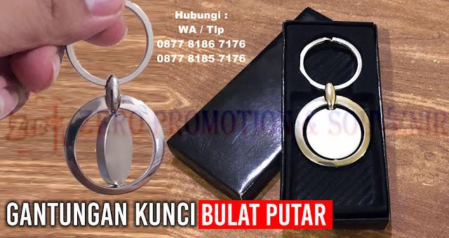 Jual Souvenir Gantungan Kunci Bulat Putar, Barang Promosi Kantor, Souvenir Ganci Promosi, Gantungan Kunci Bulat Putar Termurah
