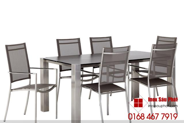 Bán bộ bàn ghế inox cho phòng khách, phòng ăn ở quận 12 TPHCM