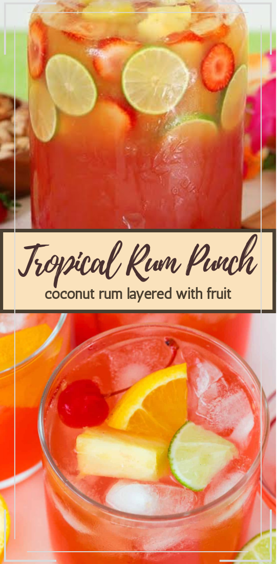 Tropical Rum Punch  #healthydrink #easyrecipe #cocktail #smoothie