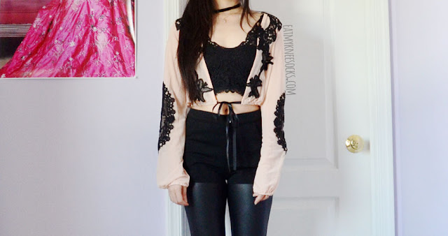 Details on the peach-beige semi-sheer embroidered black lace mesh crop top from SheIn, a dupe of the For Love and Lemons Penelope crop top, the perfect beach coverup.