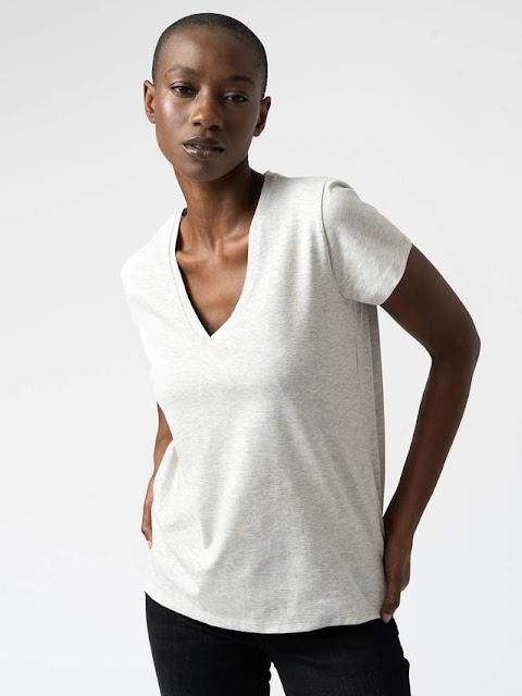 Saint and Sofia women's grey t shirt cotton