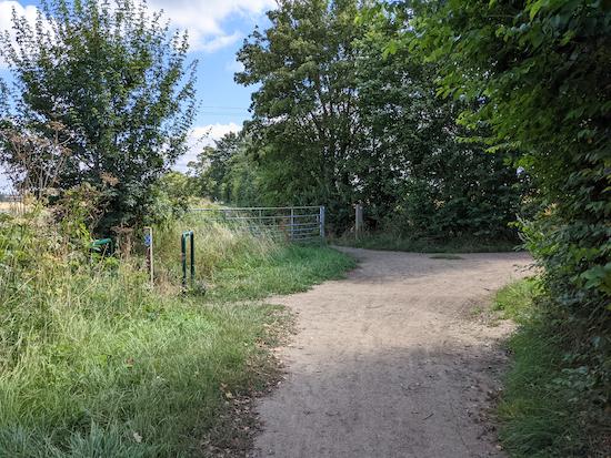 Pirton footpath 6 heading N off Pirton bridleway 21