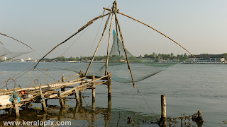Chinese fishing net at Vypin overlooking Kochi Harbour