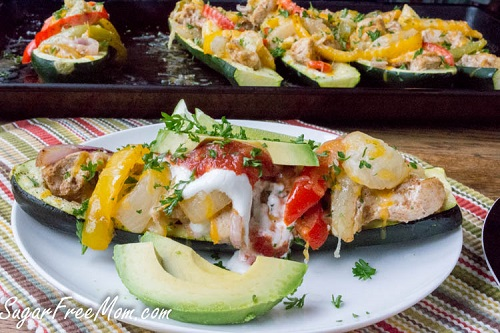 Chicken Fajita Stuffed Zucchini