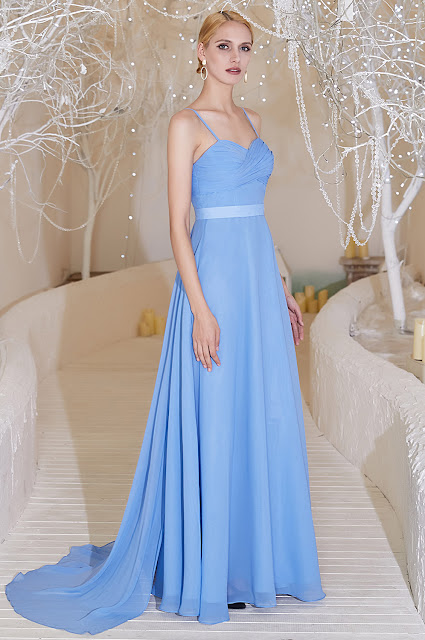 new blue bridesmaid dress with spaghetti straps