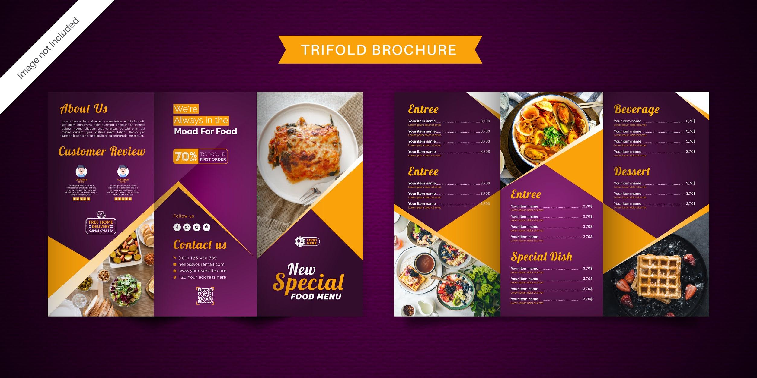 تحميل بروشور طعام مجانا 7 تصميمات احترافية مجموعة 1 بصيغة فيكتور ويمكنك تحويلها فيكتور