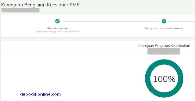Contoh Progres Kemajuan Keseluruhan Pengisian Kuesioner PMP 100%