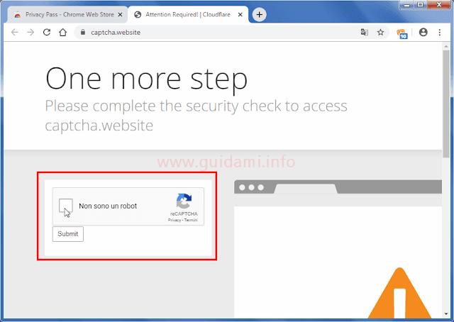 Chrome estensione Privacy Pass per risolvere captcha e ottenere pass