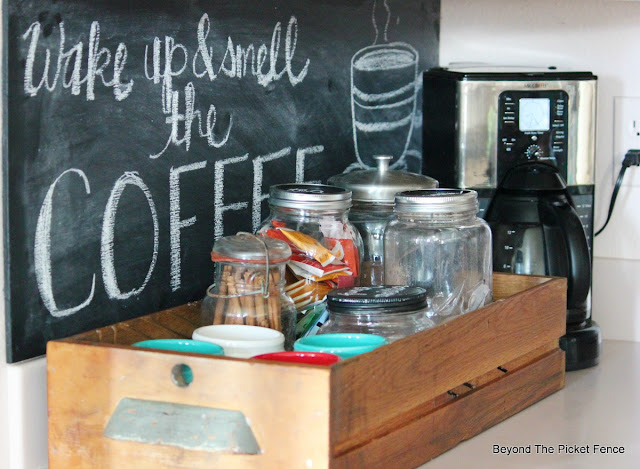 repurposed drawer, coffee station, chalkboard sign, coffee sign, canning jars,http://bec4-beyondthepicketfence.blogspot.com/2015/10/coffee-station.html