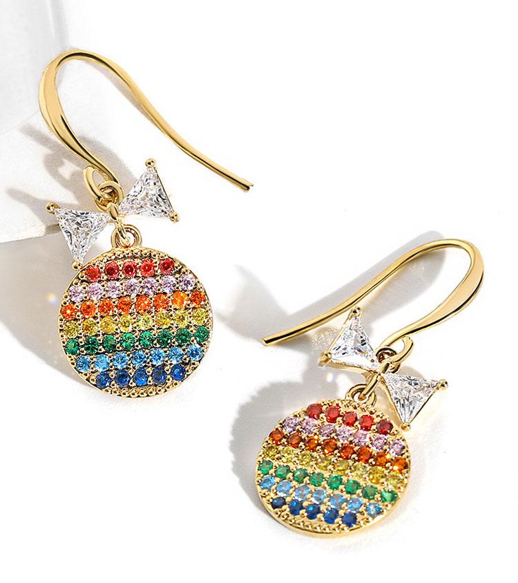 七彩霓虹水鑽耳環