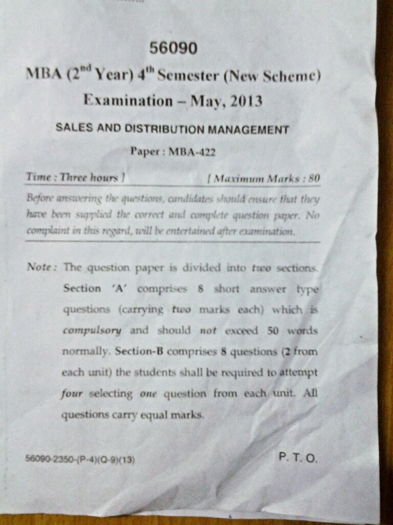 Sales management paper