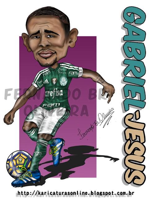 Caricatura Gabriel Jesus Palmeiras 2015
