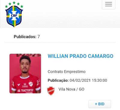Departamento de Registro do Vila Nova trabalha bem e coloca lateral esquerdo Willian Formiga em condição para enfrentar o Cuiabá