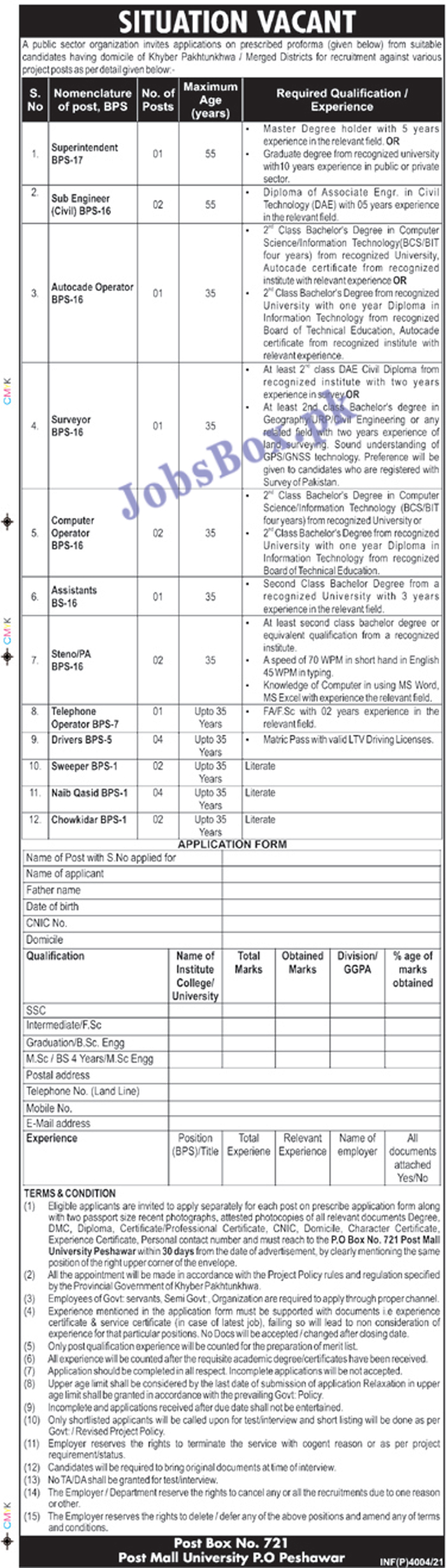 Public Sector Organization Peshawar Jobs 2021 – PO Box No 741 Peshawar Jobs