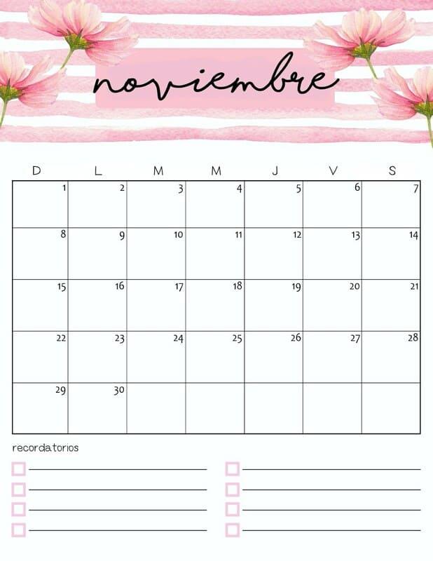 Calendario colorido 2020 de noviembre gratis