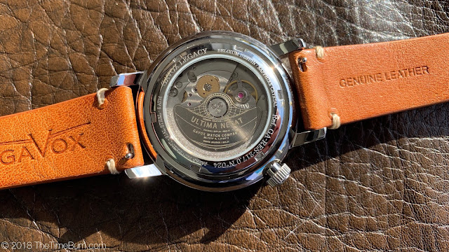 Gavox Legacy Power Reserve case back movement