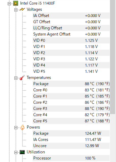 CINEBENCH中のCPU温度