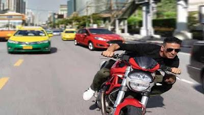 Akshay Kumar shoots Bike Stunt on the streets of Bangkok