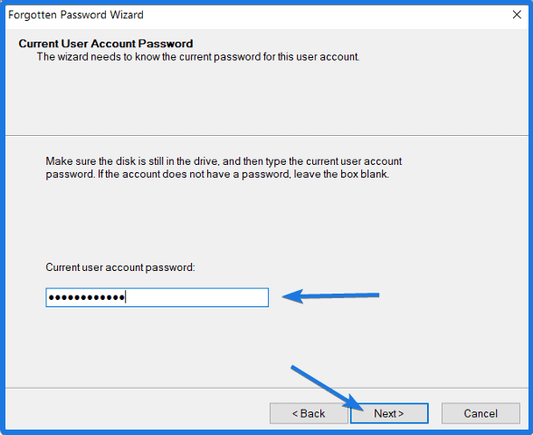 Current user account password