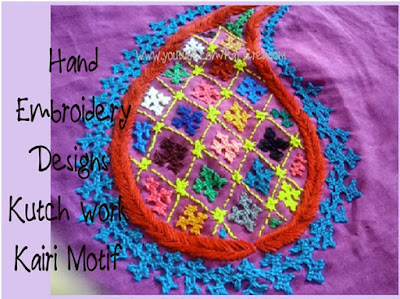 how to do kairi motif embroidery in kutch work