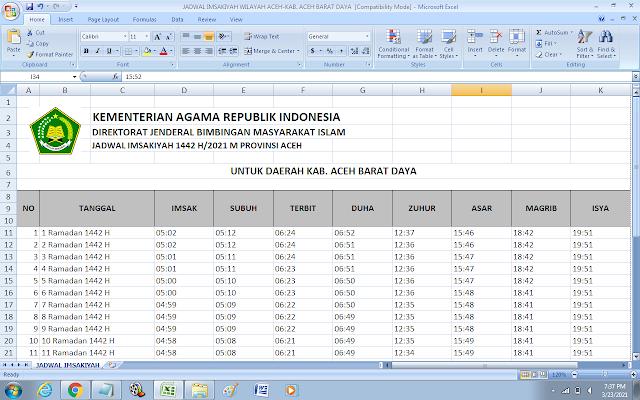 Jadwal Imsakiyah Ramadhan 1442 H Kabupaten Aceh Barat Daya, Provinsi Aceh