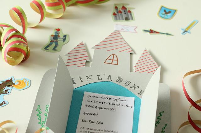 DIY Rittergeburtstag Einladungskarten Schild Ritterburg Kindergeburtstag 4 Jahre Jules kleines Freudenhaus