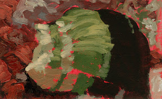 Red toned ground impressionist still life painting