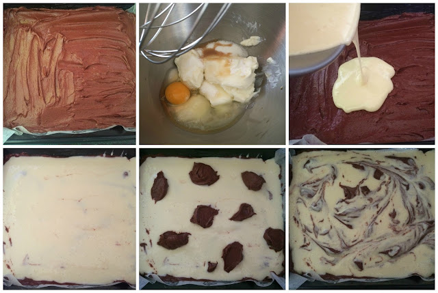 pictures of the cheesecake making and brownie assembling steps