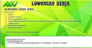 Lowongan Kerja PT. Alamjaya Wirasentosa