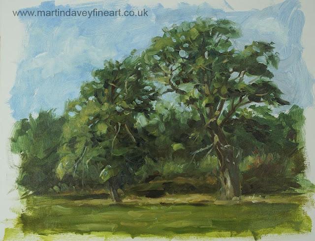 trees on Southampton common plein air art