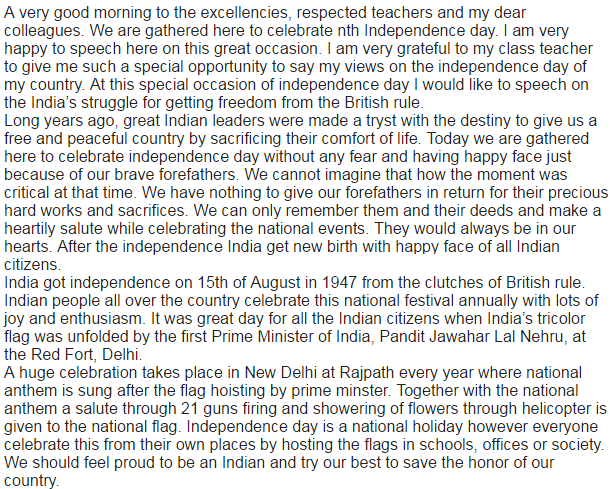 15 August Anchoring Script, Speech, Essey, Bhasan And Nibhand For Studends, Teachers & Kids