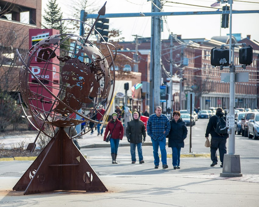 "Portland, Maine USA March 2016 Photo by Corey Templeton in the Old Port of Commercial Street and Untitled-Armillary,"" a sculpture made by Maine metal sculptor Patrick Plourde."