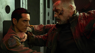 Arnold Schwarzenegger returns to the Terminator franchise to help destroy a Rev-9 (played by Gabriel Luna)