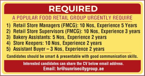 Urgently Required Retail Staff For A Leading Food Retail Group – Dubai (UAE)