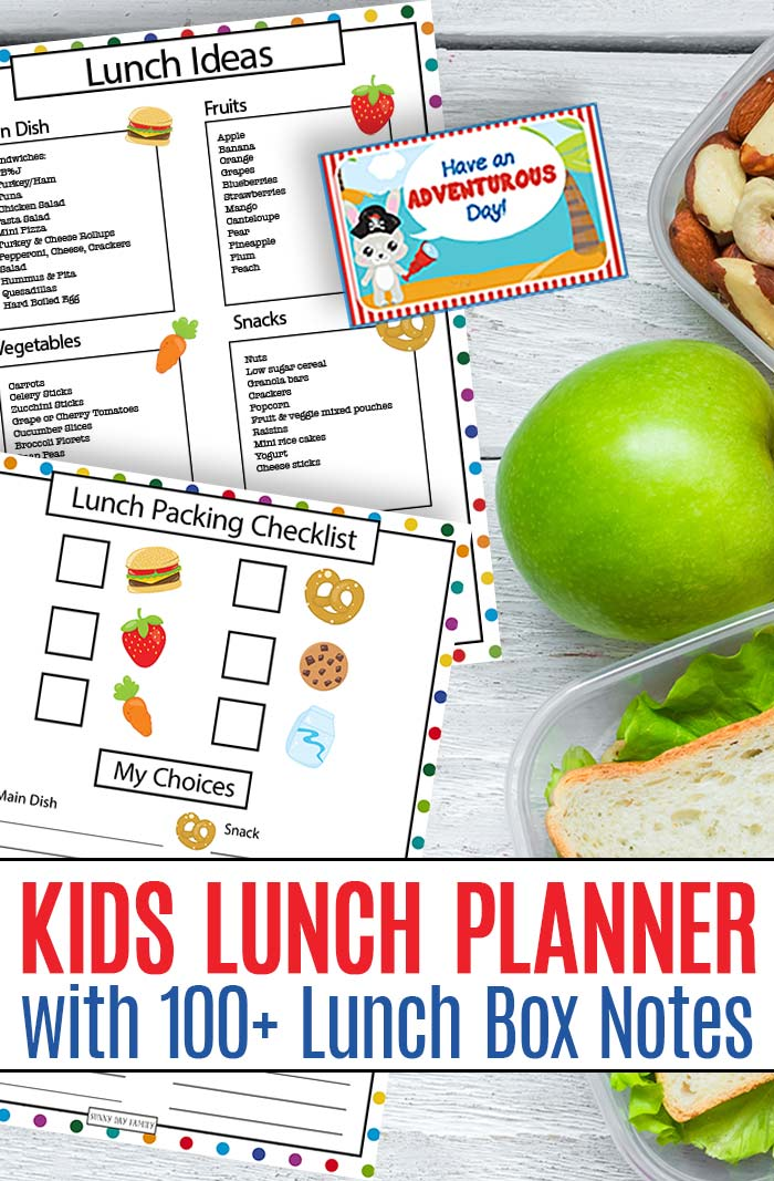 Make packing lunches easy with this kids lunch planner! Includes 100+ printable lunchbox notes, a lunch packing checklist, lunch ideas, planning pages and more. Perfect for back to school! #backtoschool #lunch #lunchboxlove #lunchbox